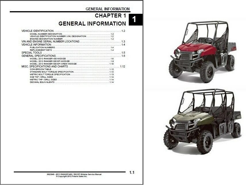 2013 Polaris Ranger 400 / 500 EFI UTV Service Manual on a