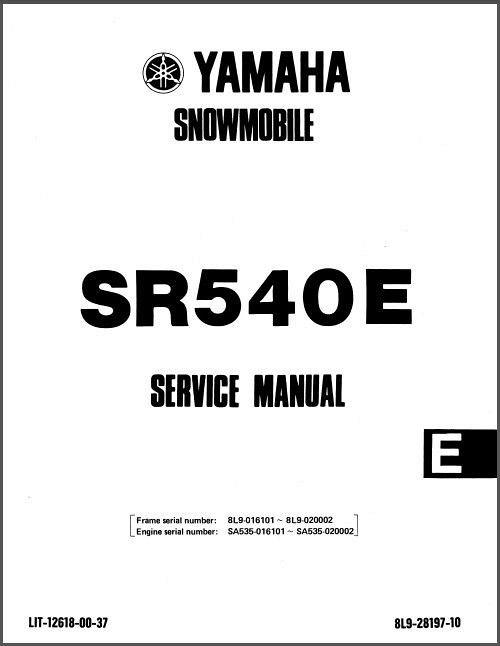 1984-1991 Yamaha SR 540 SRV ( SR540 ) Snowmobile Service