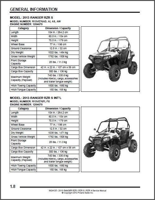 2013 Polaris Ranger RZR / RZR S / RZR 4 800 Service Manual