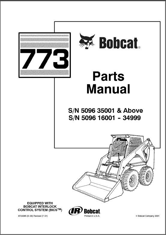Bobcat 773 Skid Steer Loader Parts Manual on a CD For Sale