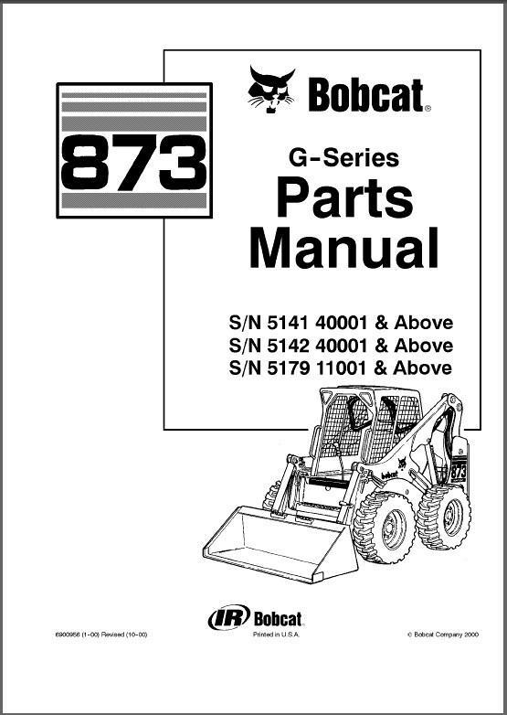 Bobcat 873 G-Series Skid Steer Loader Parts Manual on a CD