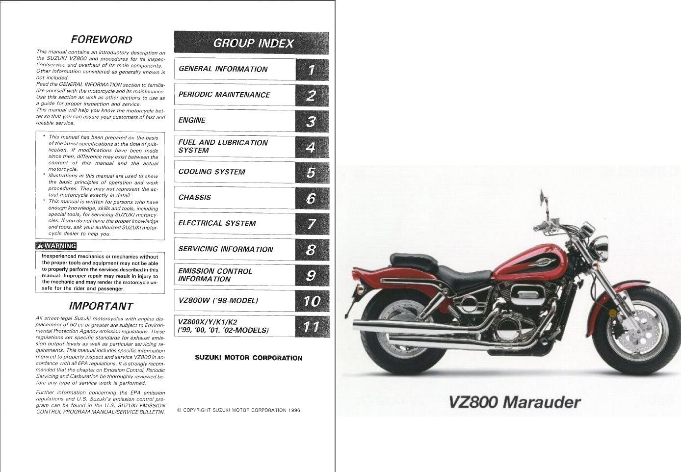 1997-2003 Suzuki VZ800 Marauder 800 Service & Parts Manual