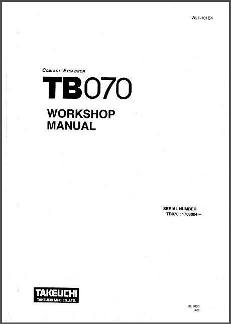 Takeuchi TB070 Compact Excavator Service Manual on a CD
