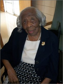 Mississippi Winn poses for a photo for archival purposes by Robert Young of the Gerontology Research Group Monday July 19, 2010 in Shreveport, Louisiana. The Caddo Parish Coroner's Office confirms that Mississippi Winn died Friday afternoon Jan. 14, 2011 at age 113 at a nursing home in Shreveport. Winn is believed to have been the oldest living African-American in the U.S. and the seventh oldest living person. Young says Winn was one of two known people in the U.S. whose parents were almost certainly born into slavery because documents show they were born before the end of the Civil War, though her great-niece Mary C. Hollins says Winn never acknowledged that. (AP Photo/Robert Young)