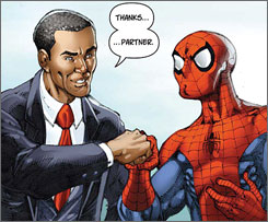Obama fist Bump with Spidey.  Image from USAToday