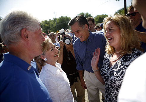 Mitt Romney With Bill And Hillary Clinton