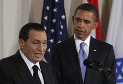 President Obama listens to Egypt's President Hosni Mubarak on Sept. 1 in Washington. Experts say a post-Mubarak government could be less of a partner in the U.S. war on terror.
