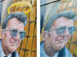 On the left, the original mural depiction of Joe Paterno. On the right, the updated version.