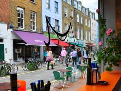 Morito restaurant with its orange counter (and the more formal Moro) serve stylish Spanish tapas in the Exmouth Market area of London.
