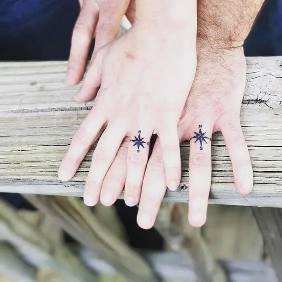 Compass point wedding ring tattoos are amazing for those who love the sea