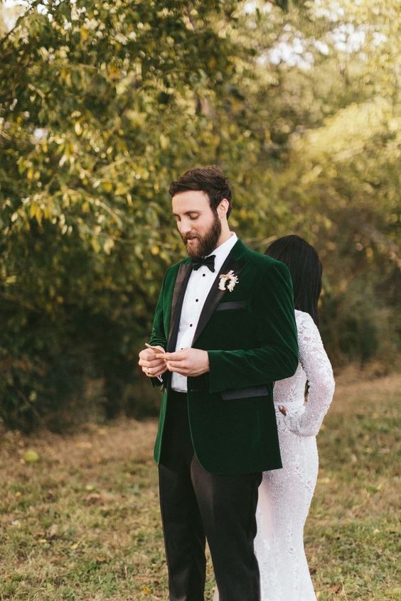 an emerald velvet tux with black lapels and black pants is a chic idea if you don't want any traditional colors