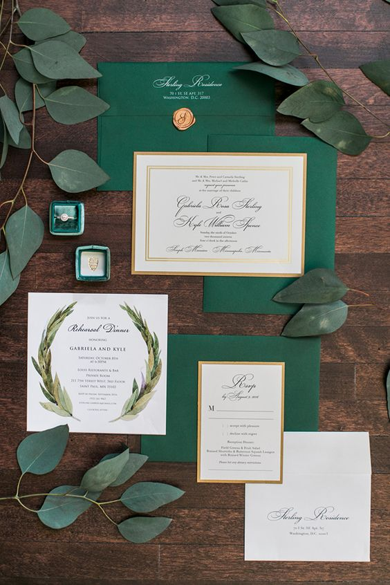 Emerald green invitation suite and engagement ring at a destination wedding at the Semple Mansion in Minneapolis, Minnesota by Long Beach wedding photographer Lovisa Photo.