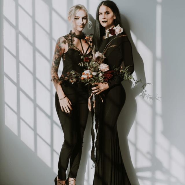 brides rocking black - a mermaid wedding gown with long sleeves and a jumpsuit with lace details on top for a modern witchy wedding