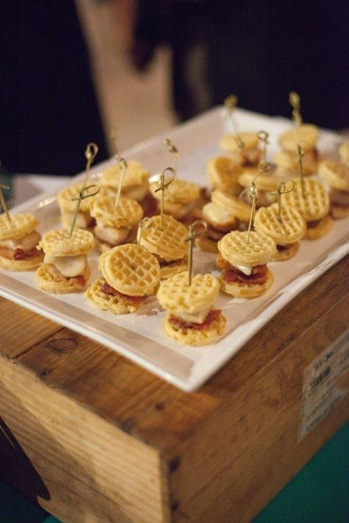 mini waffle sliders with various fillings are delicious as a snack