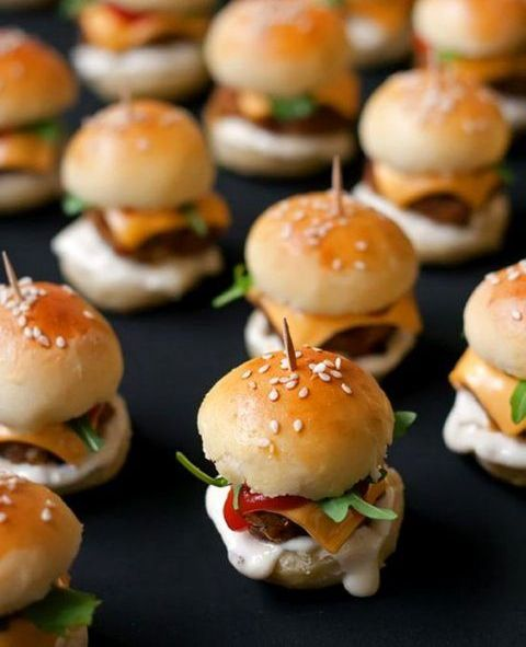 tasty mini burgers always work, you may go for varioys types including vegan ones