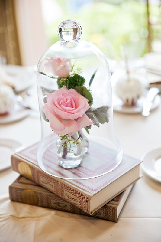 a couple of books plus pink roses in vases in a cloche look very romantic and beautiful