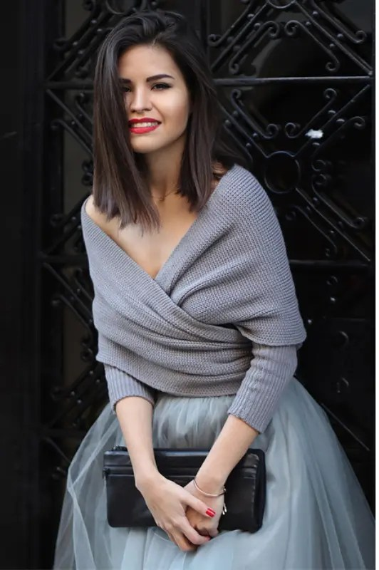 a gorgeous grey wrap sweater and a tulle skirt will make up a chic separate for a city hall ceremony