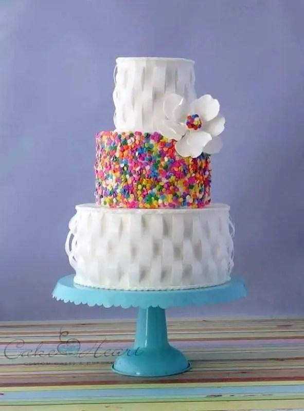 23 Fun And Colorful Sprinkle Wedding Cakes Weddingomania