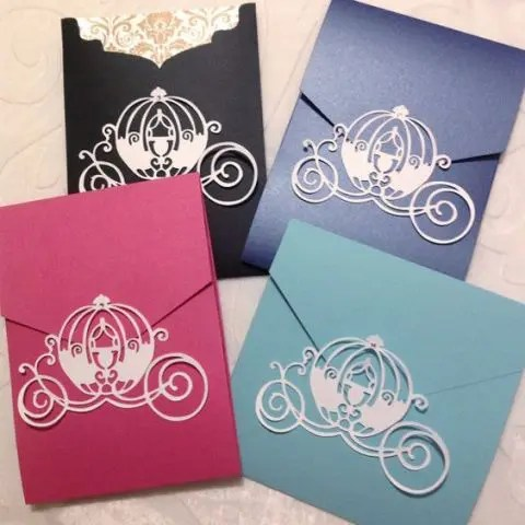 bright envelopes with paper carriages that lock them is a fun and whimsy idea