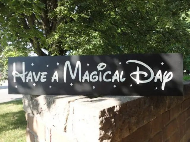 a wedding sign done with cool Disney-style letters is a cute idea that you can DIY