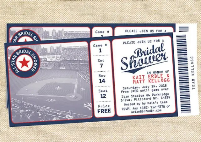 Picture Of Baseball Ticket Styled Invitations