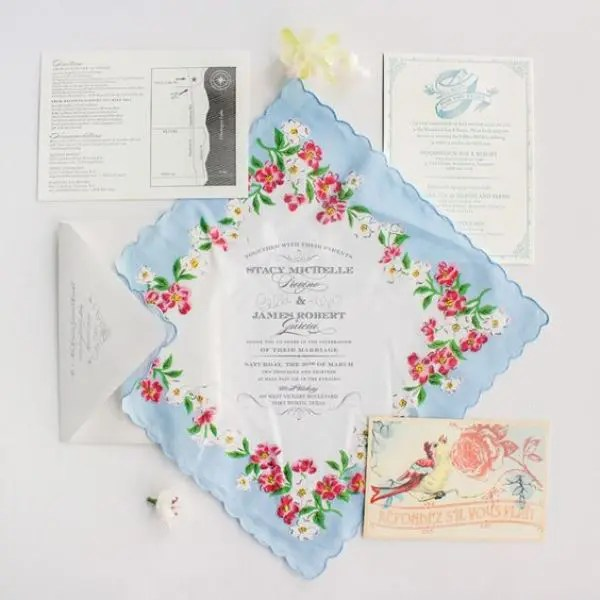 Vintage Inspired Fl Handkerchief Wedding Invitation