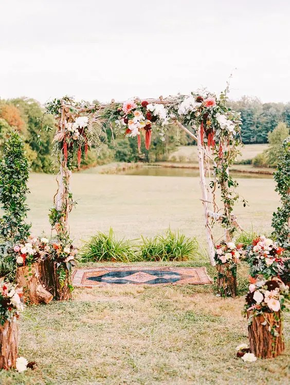 fall wedding arch with flower decor