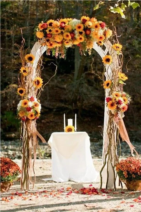 fall-colored bold rustic wedding arch