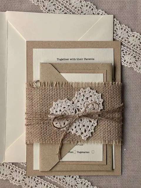 Cute Wedding Invitations With Burlap And Twine