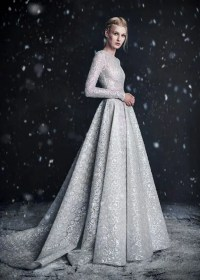 Picture Of silver grey wedding dress with an amazing pattern