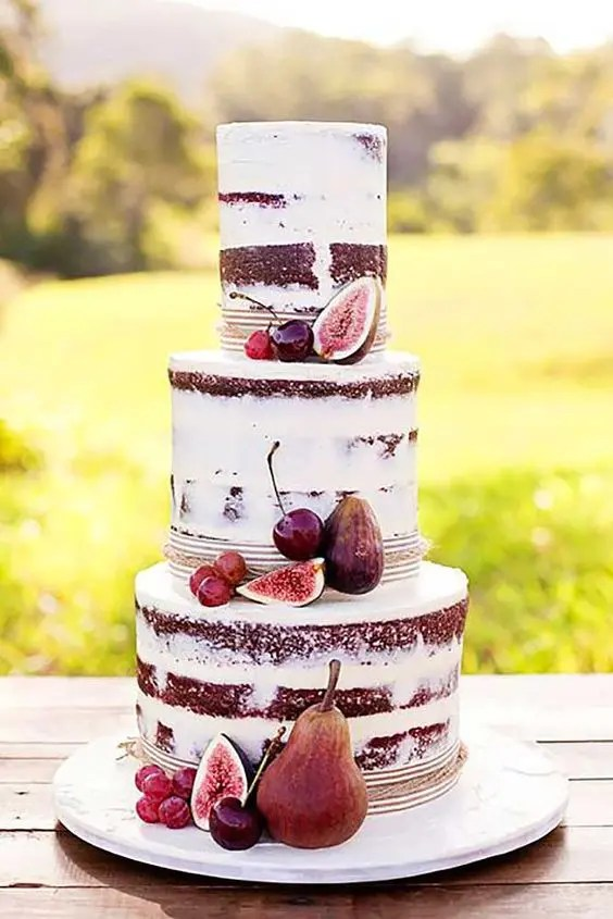 fall naked cake with figs and cherries