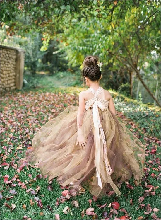 beige and brown tutu dress for a fall flower girl