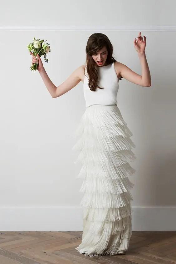 20 Fringe Wedding Dresses That Catch An Eye Crazyforus
