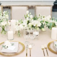 Picture Of grey, white and gold table setting with white ...