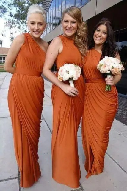 Awesome orange draped dresses for fall weddings