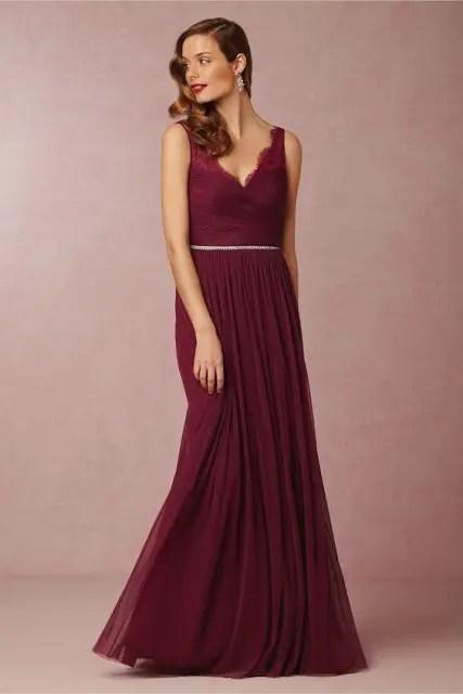 Elegant marsala maxi bridesmaid dress