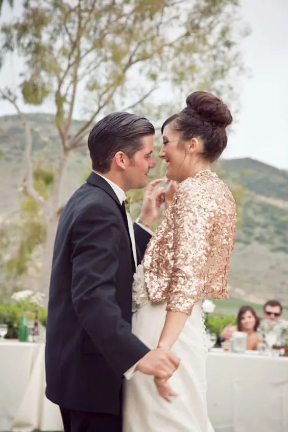 copper sequin jacket for an unconventional bride