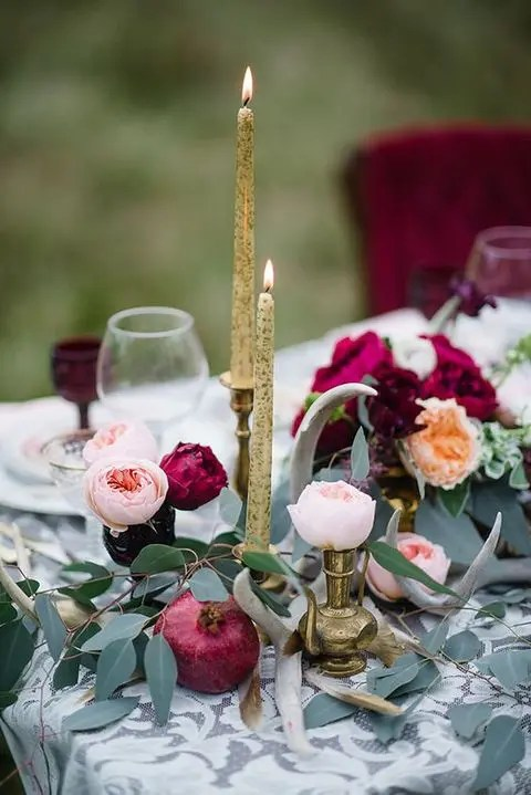 Picture Of marsala flowers and a pomegranate with blush