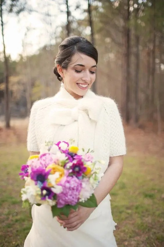 furry knit bridal cropped jacket