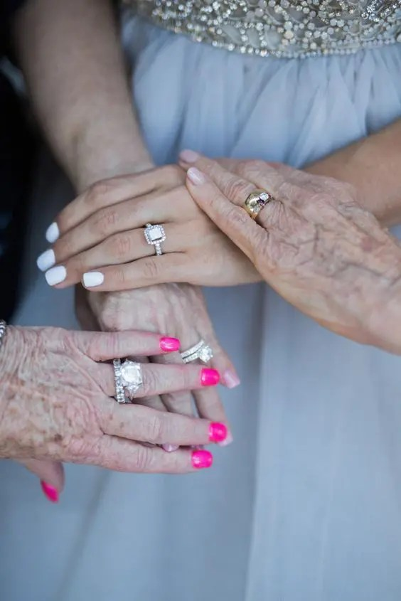 emotional photo of engagement rings wwith mom and grandma