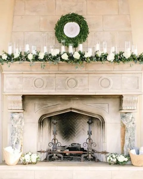 how to decorate a living room with fireplace modern minimalist 39 winter wedding wreaths add festive touch ...