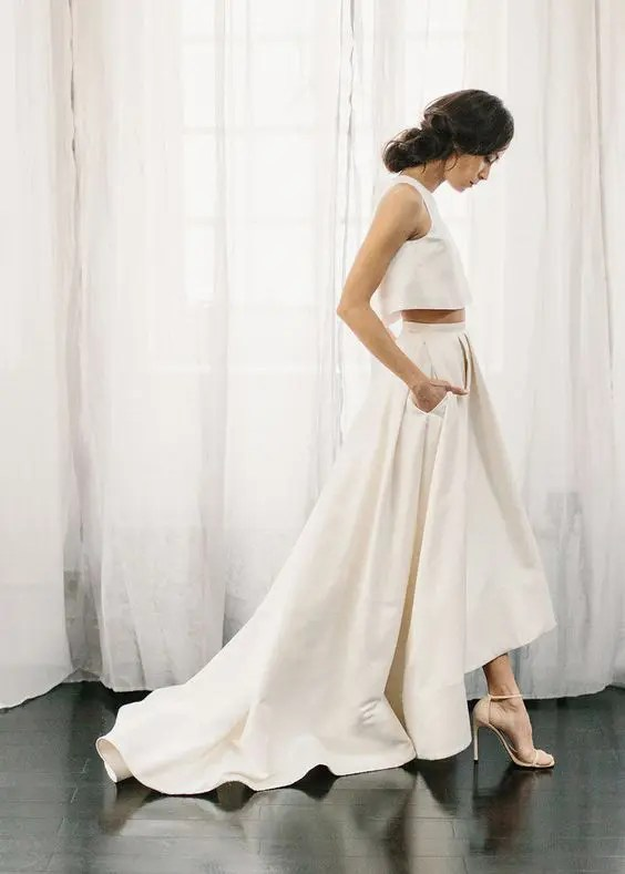 minimalist bridal separate with a high low skirt