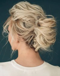 Picture Of wedding updo for medium hair with no accessories
