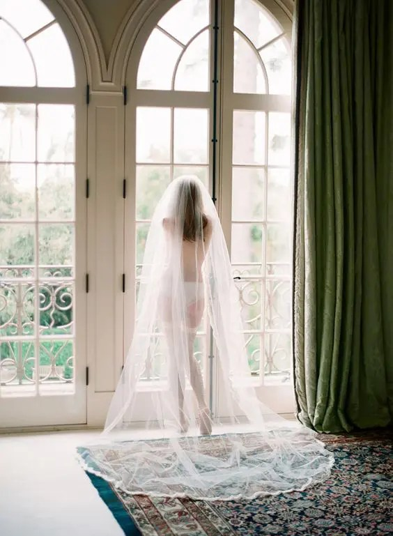 boudoir-styled picture with lingerie, shoes and a veil