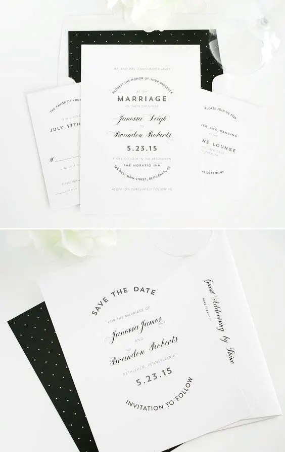 modern stationery with polka dots