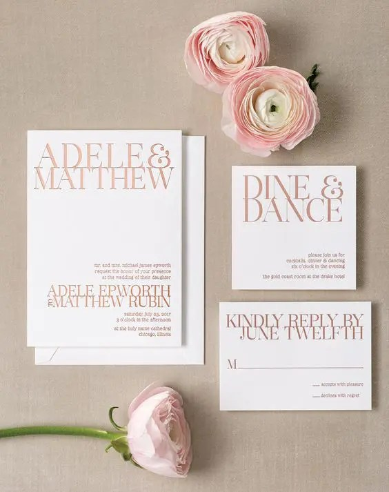 modern stationery with gold foil decor