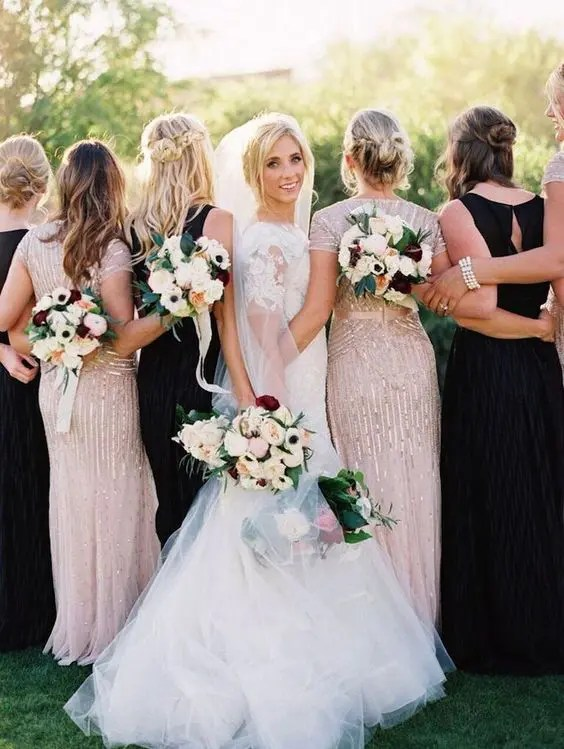 blush glitter and black dresses for the bridesmaids