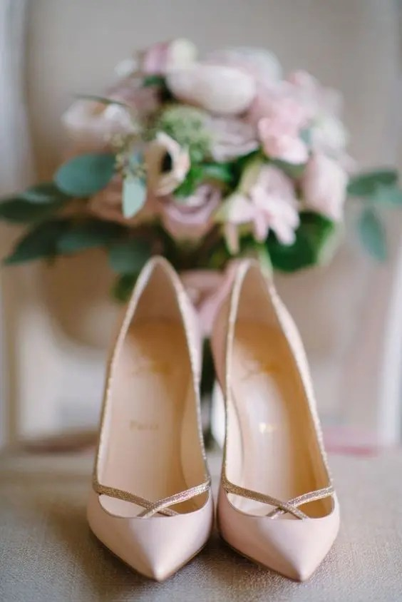 Louboutin blush shoes with glitter detailing