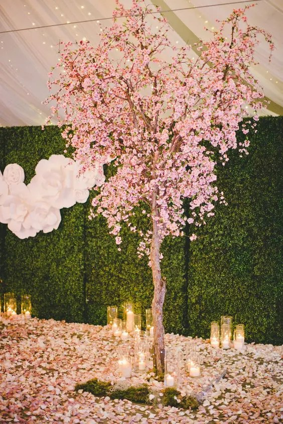 chair attached table high back chairs uk only 41 romantic cherry blossom wedding ideas - weddingomania