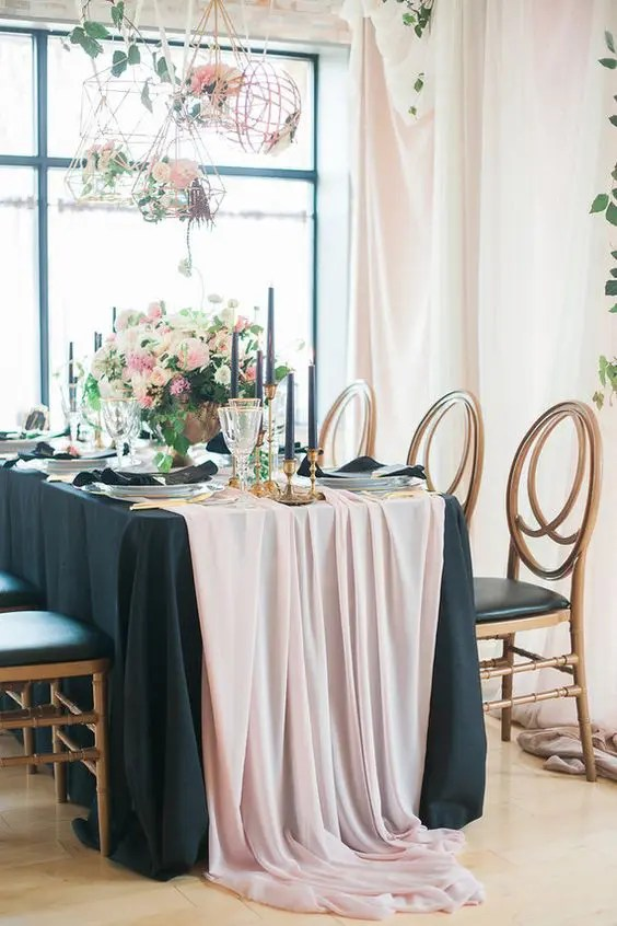 Picture Of Blush And Black Table Setting With Black